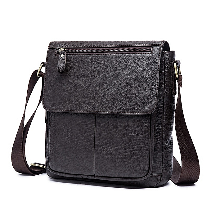 Other Leisure Style Mens Briefcase  Leather Briefcases Men Laptop Bag Business Bags Shoulder Bags Male Crossbody Bags Maleta(coffee) à prix pas cher