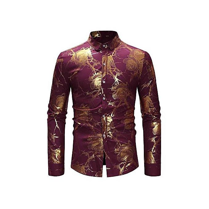 AFankara Gilding Flower Tree Pattern Slim Shirt - rouge à prix pas cher