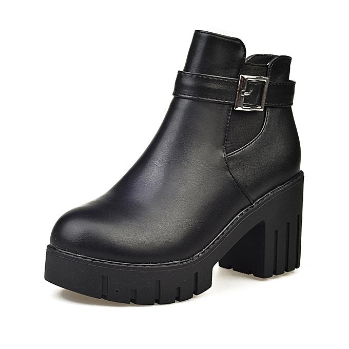 Autre Stylish 7cm Heel British Style WoHommes WoHommes Style 's Thick Heel martin Boots à prix pas cher  | Jumia Maroc 13edb3