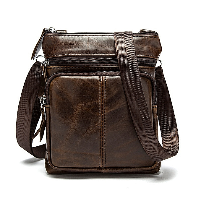 Other Luxury Brand Messenger Bag Men Shoulder bag  Leather Small male homme Crossbody bags for Messenger men Leather bags Handbag(Coffee) à prix pas cher