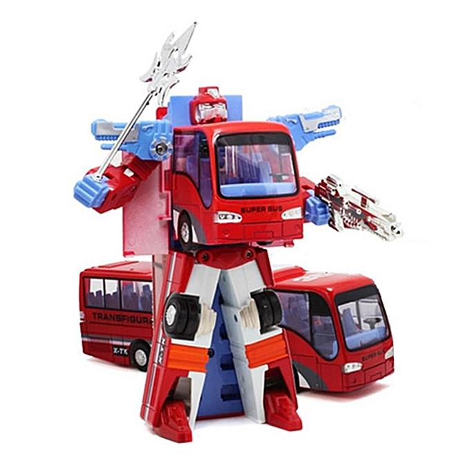 UNIVERSAL nouveau Variable Robot Bus Transform Figure Toddler Model Educational Toy Enfants Gift  rouge à prix pas cher