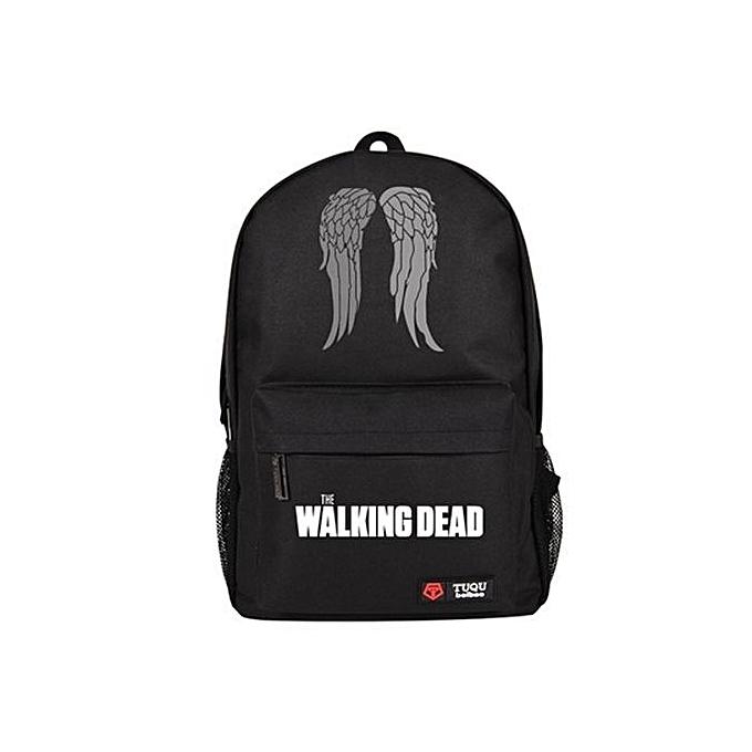 mode en marchant Dead sweat à capuche Zombie Daryl Dixon Wings sac à doss Student Shoulder sacs noir à prix pas cher