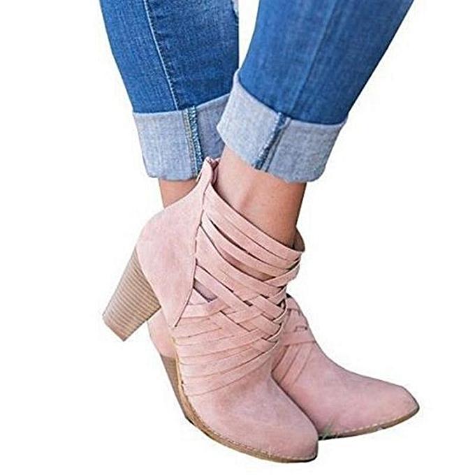 Fashion Hollow Female Coarse Heel Short Boots Chunky Mid Mid Mid Heel Summer Sandals Zipper Ankle Shoes à prix pas cher  | Jumia Maroc 964bb7