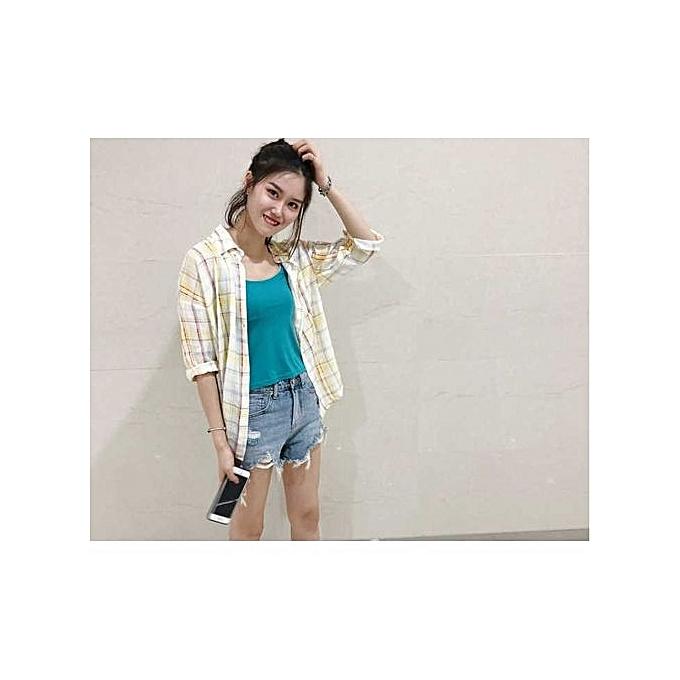 mode femmes Shirt Loose Slim Plaid Décontracté mode Shirt à prix pas cher