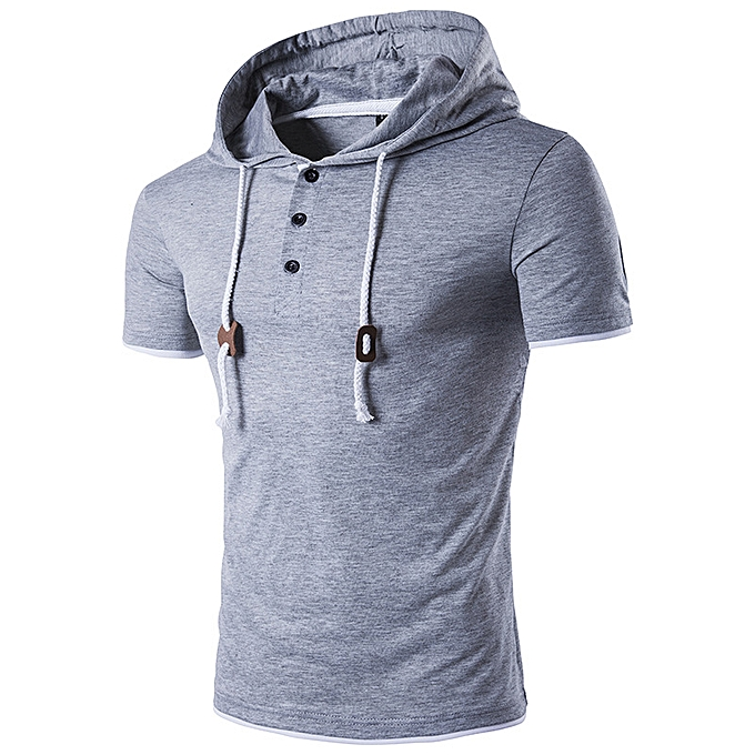 Fashion Men Hooded Drawstring T-shirt Solid Couleur Short Sleeve Casual Tees à prix pas cher
