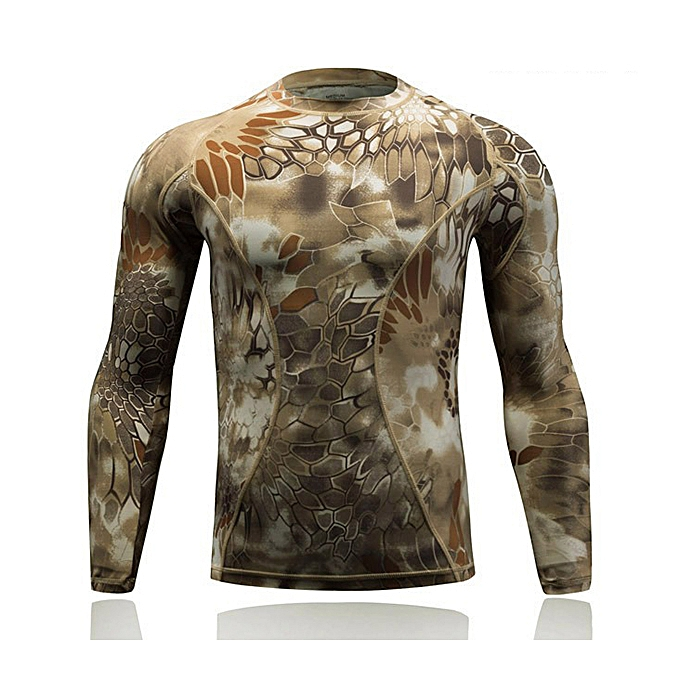 mode Camouflage Tight-fitting  T-shirts de plein air Tactical Elastic Long-sleeved  à prix pas cher