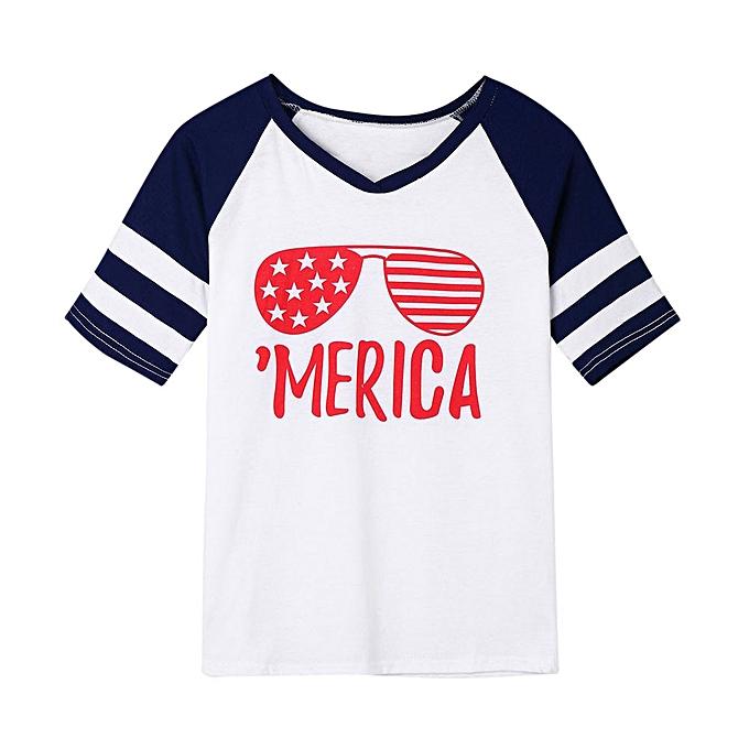 Generic Generic femmes American Flag Glasses Printing T-Shirt Short Sleeve Casual Tops Blouse A1 à prix pas cher