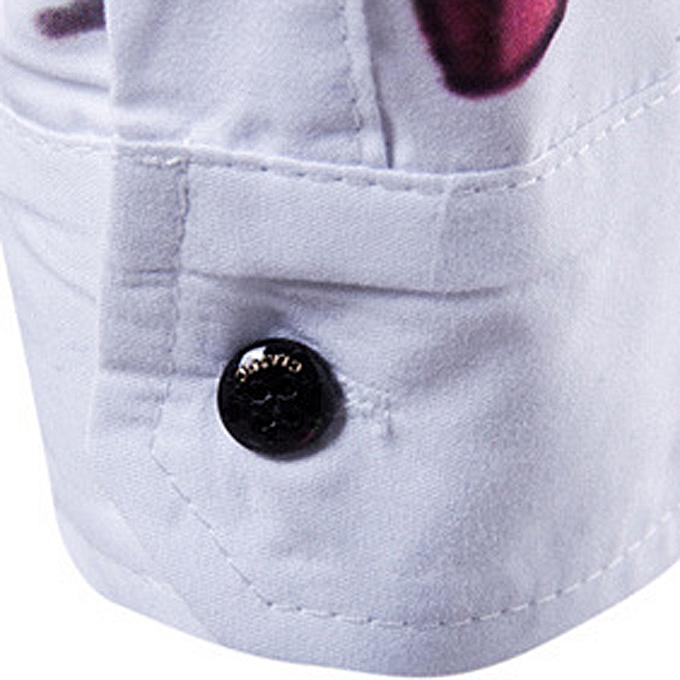 Cuena Pour des hommes Décontracté manche longue Shirt Affaires Slim Fit Shirt Printed chemisier Top- blanc   L à prix pas cher