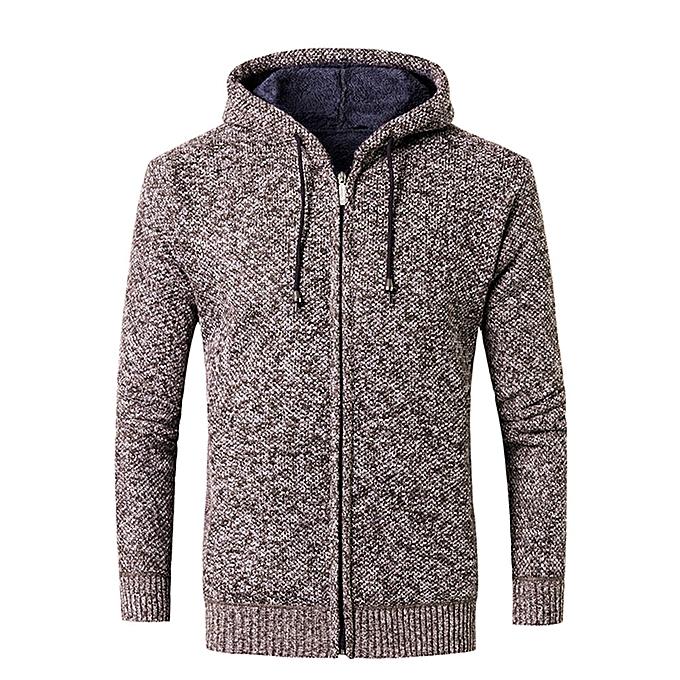 Fashion Men's Casual Autumn Winter Zipper Fleece Hoodie Outwear Tops Sweater Blouse Coat -Coffee à prix pas cher