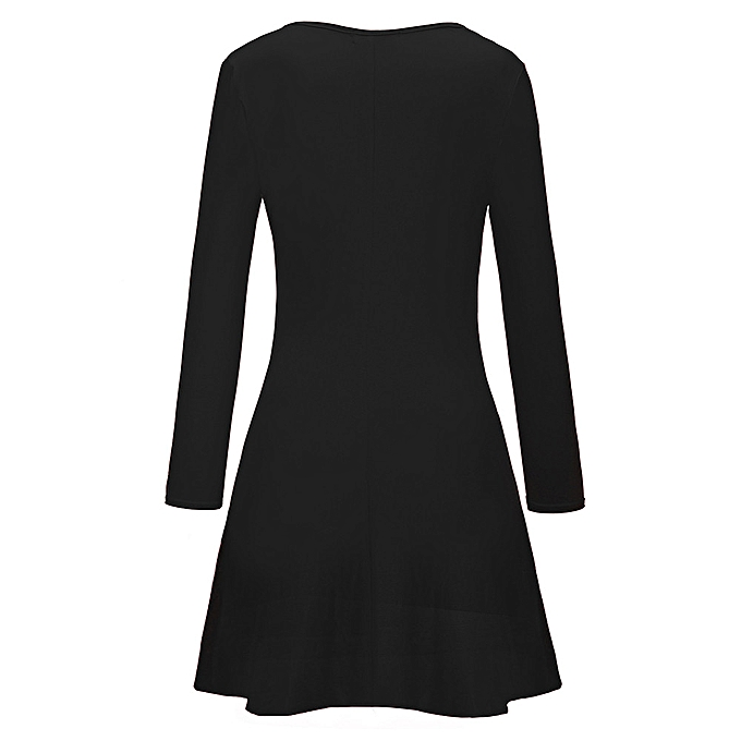 mode femmes Christmas Printed Letter Robe Ladies manche longue Mini Robe BK L à prix pas cher