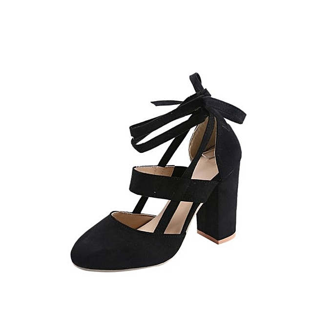 mode Bliccol High Heel chaussures femmes Party Suede Strappy Thick talons hauts Sandals Classic Plus chaussures BK 37-noir à prix pas cher