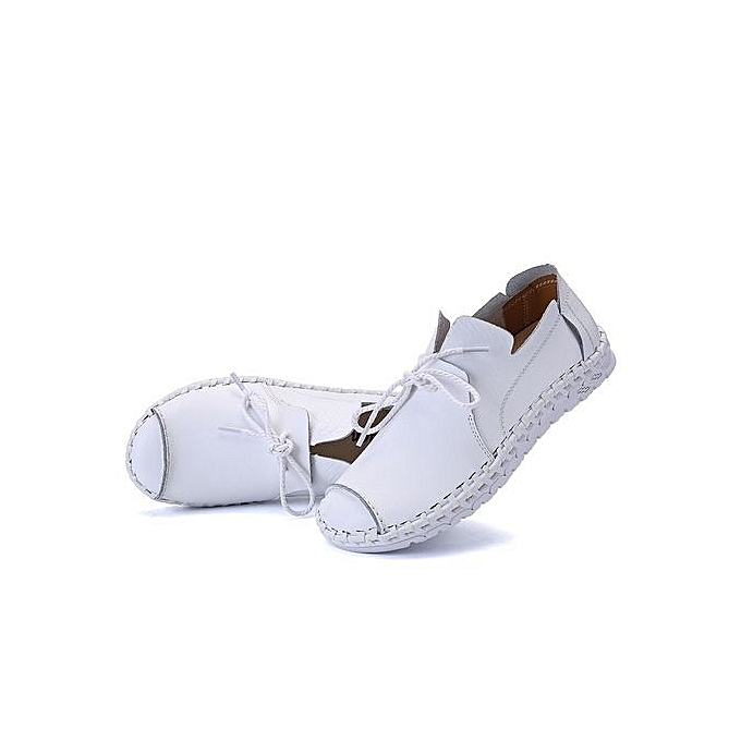 Fashion  's Anti-Collision Toe Casual Leather cher Shoes,British Style Handmade Loafers-White à prix pas cher Leather  | Black Friday 2018 | Jumia Maroc 368c21