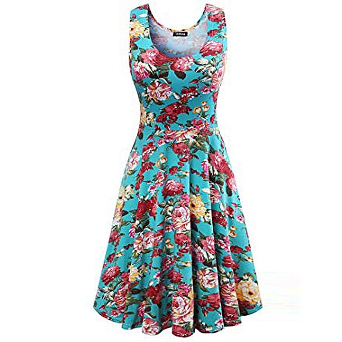 Fashion quanxinhshang Ladies'sleeveless Print Round Collar Dress à prix pas cher