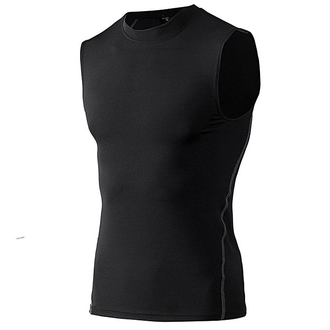 Other mode Hommes& 039;s FonctionneHommest Basketball Elastic Tank hauts Tight Training Sports Vest  -noir à prix pas cher