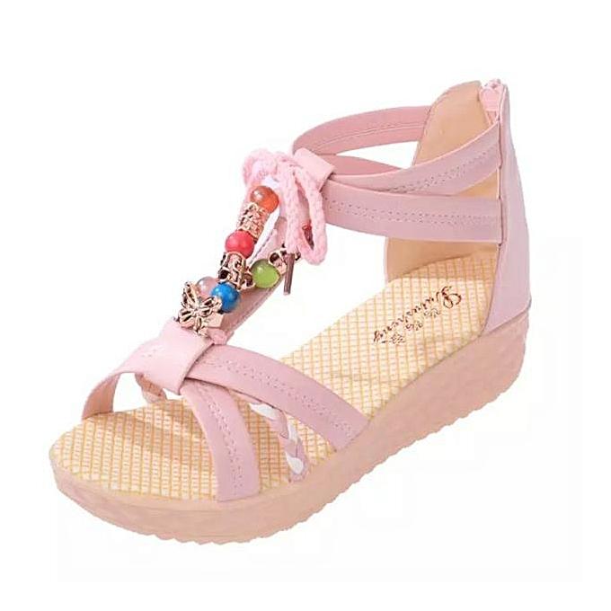 mode Blicool Shop femmes Sandals été femmes Sandals plage Flat chaussures With Sweet Bow For Girls PK -rose à prix pas cher