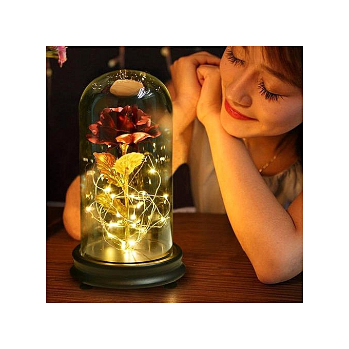24K Gold Plated Rose Flower LED Light With Glass Cover Base Valentines'Day  Wedding Gift