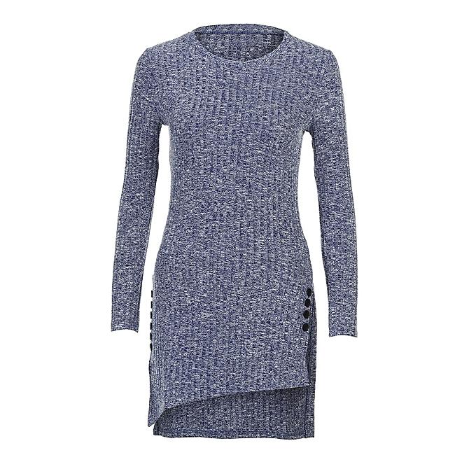 mode Hiamok femmes Round Neck Irregular Top manche longue Spilt Shirt Knitting Long chemisier NY L à prix pas cher