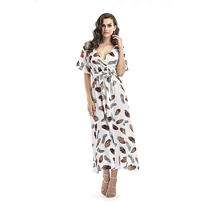 Generic TB Floral Print femmes Dress V-neck Splited Beach Short Sleeve Long-blanc à prix pas cher