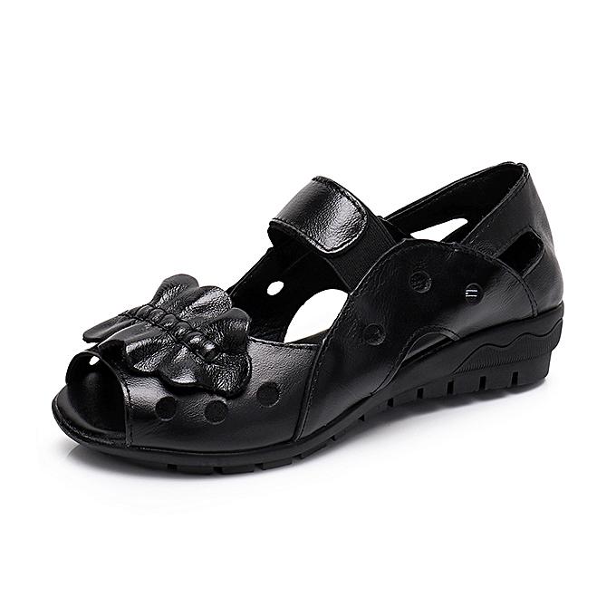 Fashion Genuine Leather Casual chaussures Hollow Out Soft Sole Flat Sandals à prix pas cher