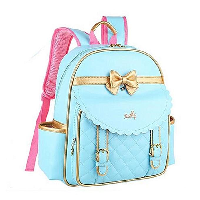 Fashion Girls Cute Bowknot Backpack Kids School Backpack Rucksack Bookbag Handbag Bag bleu à prix pas cher
