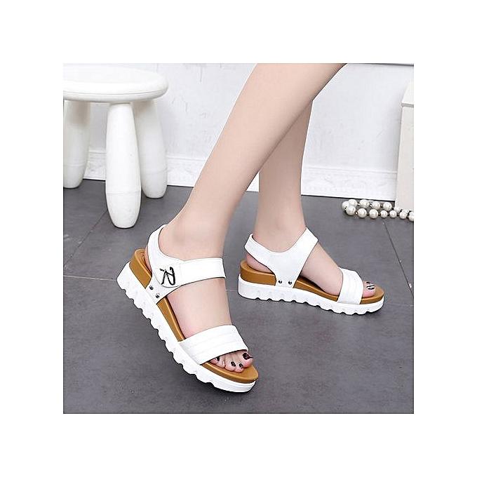 Fashion Hiamok_Summer Sandals femmes Aged Flat Fashion Sandals Comfortable Ladies chaussures WH 37 à prix pas cher