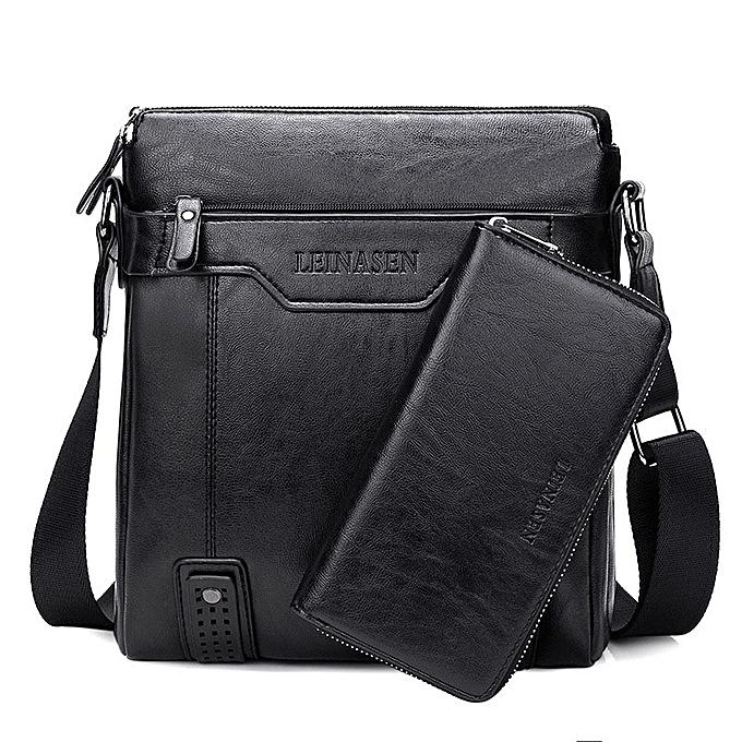 Other Portable Hand Work Business Office Male Messenger Bag Men Briefcase For Document Handbag Satchel Portfolio Brief Case Partfel(noir with Wallet) à prix pas cher