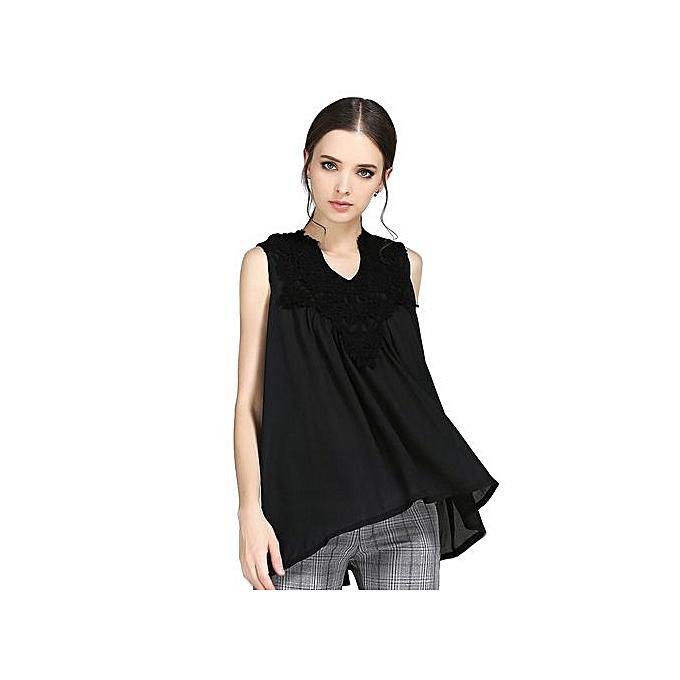 Generic HL Stylish V Neck Lace Patchwork Pleated Loose T Shirt For femmes (noir)(S-L) à prix pas cher