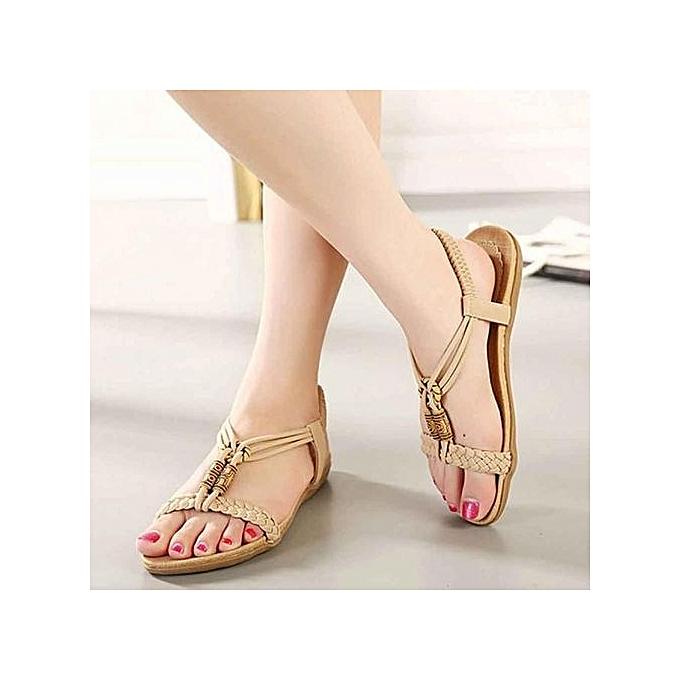 mode Blicool Shop femmes Sandals Wohommes mode Sweet Beaded Clip Bohemian Herbaguebone Sandals KH - noir à prix pas cher