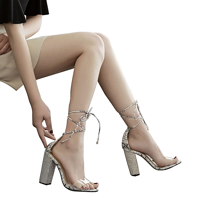 Generic Sedectres femmes mode Cross cravated Transparent Crystal Square Heel High Heeled chaussures CE-Camouflage à prix pas cher