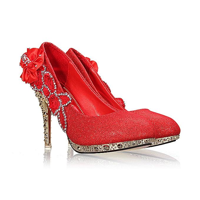 Fashion femmes Sexy Wedding Bridal Pumps Party Crystal talons hauts rouge à prix pas cher    Jumia Maroc