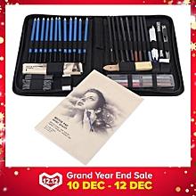 48PCS Professional Sketching Drawing Pencils Kit Carry Bag Art Painting Tool Set Student Black