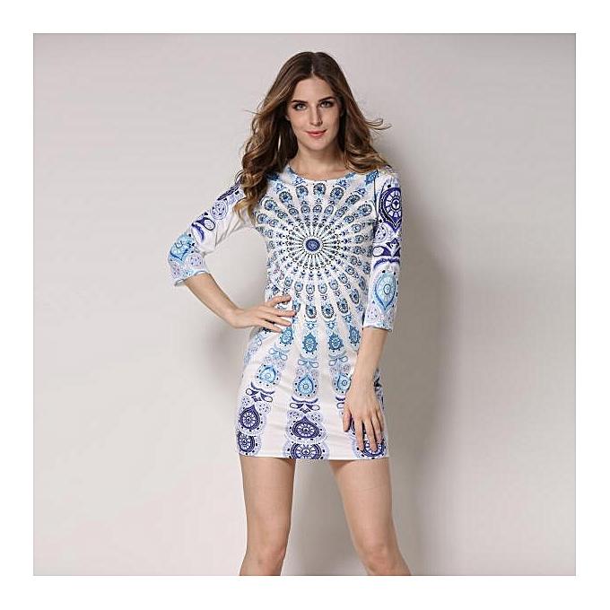 mode jiahsyc store mode femmes  Tribal Floral Printed Robe Evening Party plage Robe L-Couleurful à prix pas cher