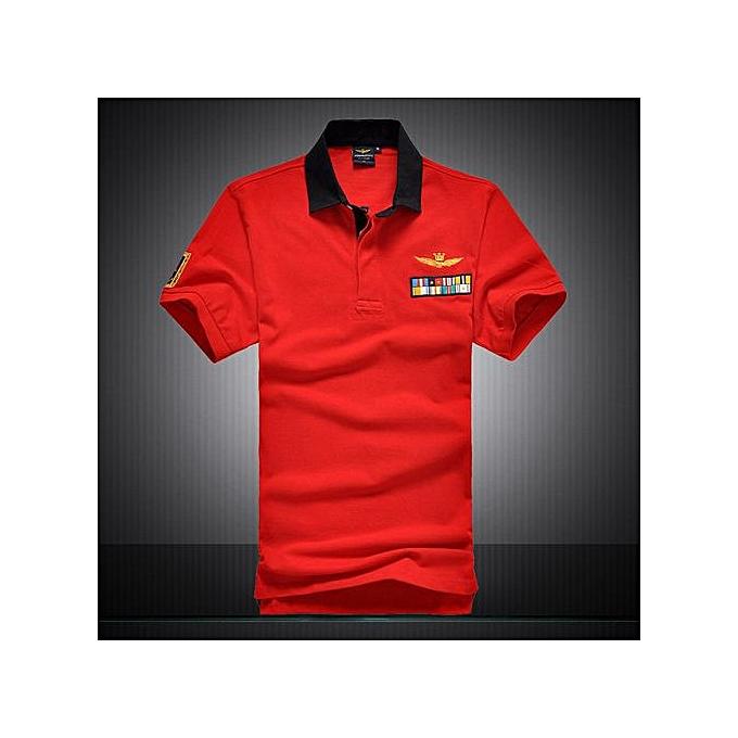 "Generic nouveau Cotton AERONAUTICA MILITARE Air Force One polo shirt Embroidery Aeronautica "" Military"" Hommes Military polo shirt-rouge à prix pas cher"