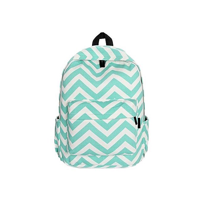 Fashion Xiuxingzi_femmes Double-Shoulder Sweet Stripe Canvas Backpack Schoolbag GN à prix pas cher