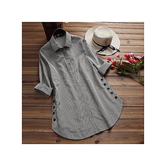 mode Xiuxingzi femmes& 039;s manche longue Lattice Button Décontracté hauts Shirt Loose Plus Taille chemisier à prix pas cher