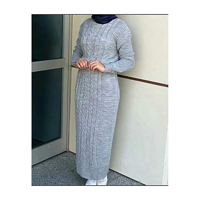 Generic Robe longue grise  à prix pas cher