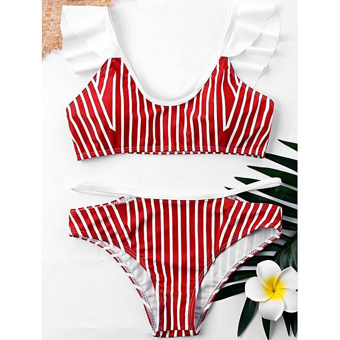 Generic HL Plus Taille rayé Flounced Bikini Set (rouge,Stripe) (4XL, XL, 2XL, 3XL, 5XL) à prix pas cher