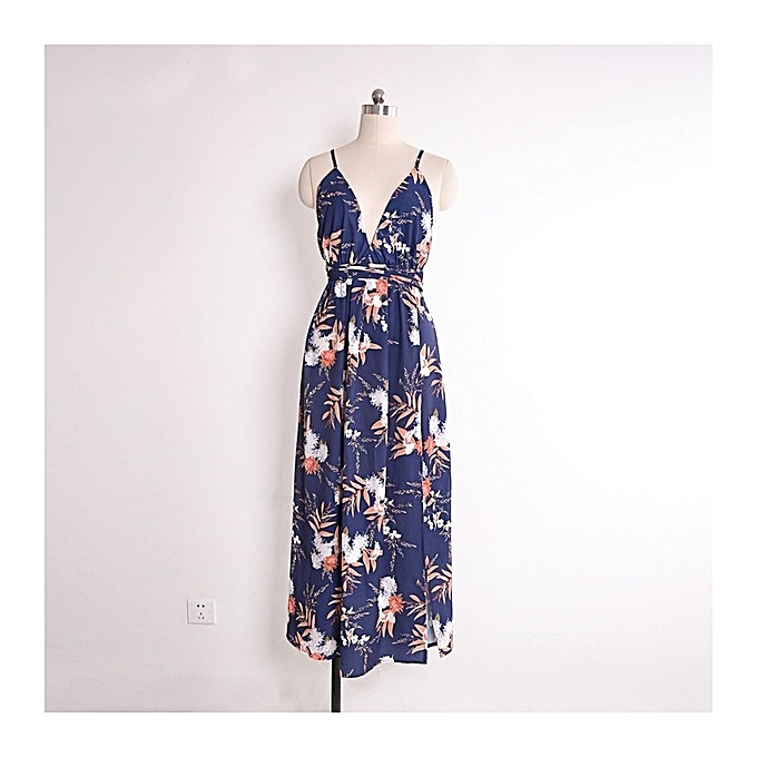 OEM New arrivel New arrivel V-neck open back dress Fashion printed beach dress-1 à prix pas cher