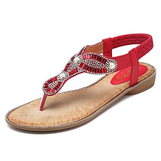Fashion Bohemian femmes Beach Flip Flops Casual Sandals à prix pas cher