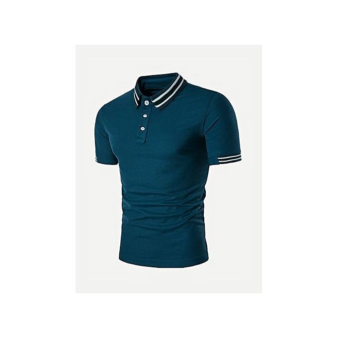 SHEIN Men Striped Detail Polo Shirt à prix pas cher