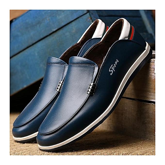 Fashion Fashion   Cow Cow  Leather Plush Lining Slip On Casual Shoes Loafers-EU à prix pas cher  | Jumia Maroc 54a1fe