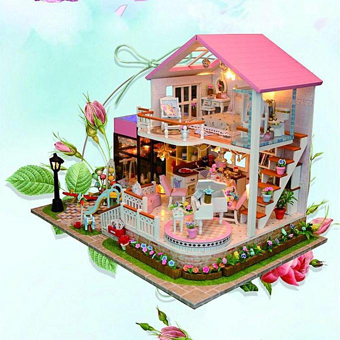 Autre Sunborui DIY Doux En Bois Miniature Maison De Poupée À La Main Assemblée Modèle Maison Jouet Cadeau à prix pas cher