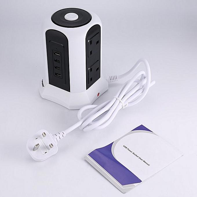 Allwin 10 Chemin Tour verticale Alimentation secteur Prise d'extension de port USB AdapterUK noir&blanc à prix pas cher