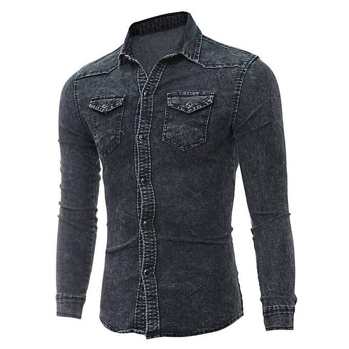 Fashion Men's Shirts Retro Denim Shirt Cowboy Blouse Slim Thin Long Tops BK L à prix pas cher