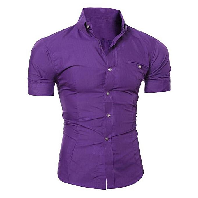 mode Hommes Luxury Affaires mode Slim Fit manche courte Décontracté Shirt PP XXXL à prix pas cher