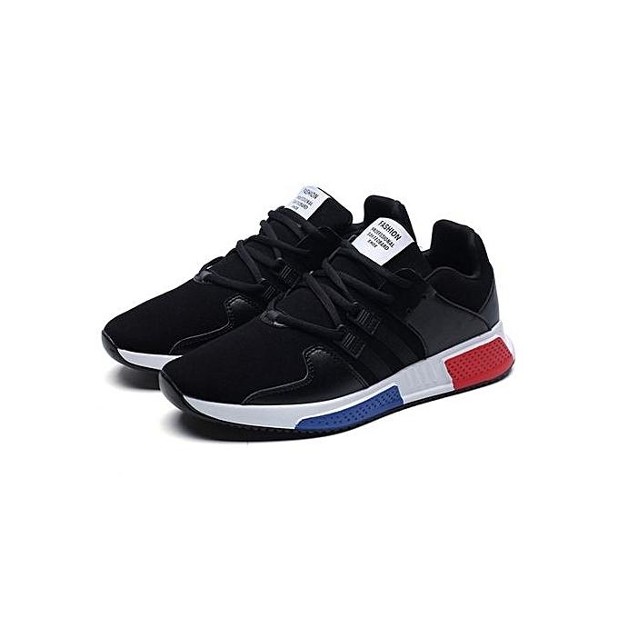 Generic UL PU Leather Surface Sport chaussures Breathable Slip-resistant Running For Men noir à prix pas cher