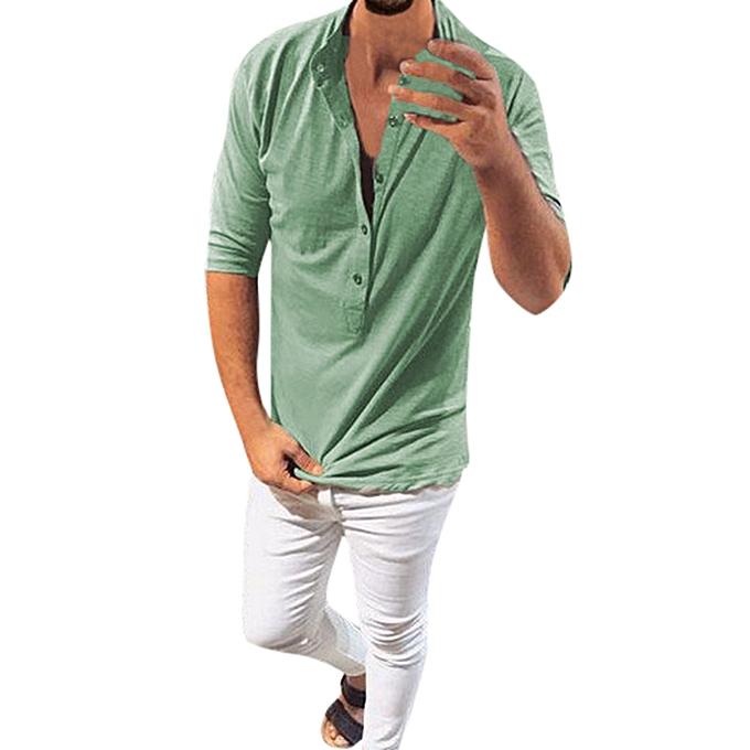 mode mode Hommes Autumn Winter Button Half Sleeve Slim Décontracté hauts chemisier Shirts -vert à prix pas cher