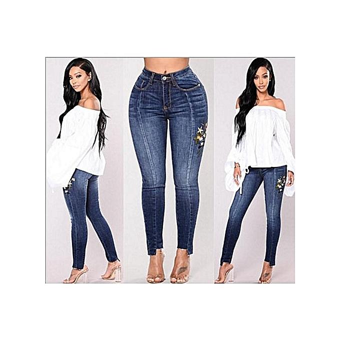 OEM Plus Taille Female Pencil Jean High Waist Skinny Denim Pants femmes Trousers-dark bleu à prix pas cher