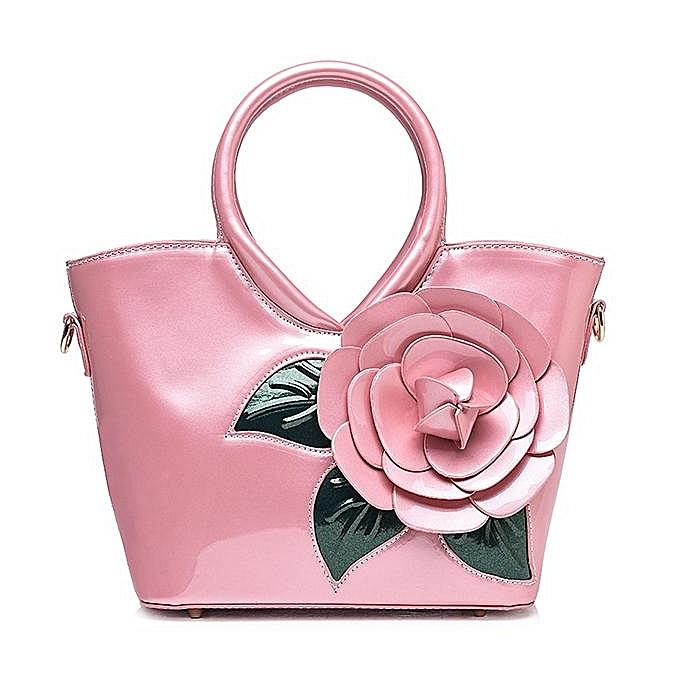 Fashion New sweet lady bag Autumn and winter waterproof ladies handbag Pearlescent patent leather flower shoulder bag à prix pas cher