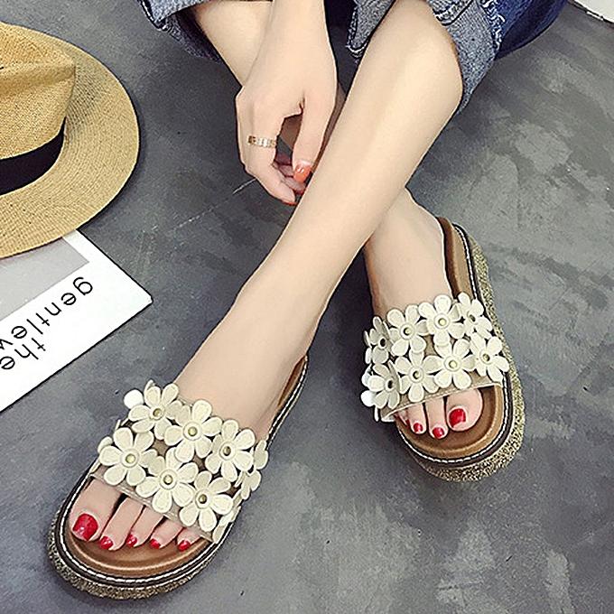 Fashion jiahsyc store femmes Sandals Flip Flop Flower Breathable Slides Solid Casual chaussures à prix pas cher